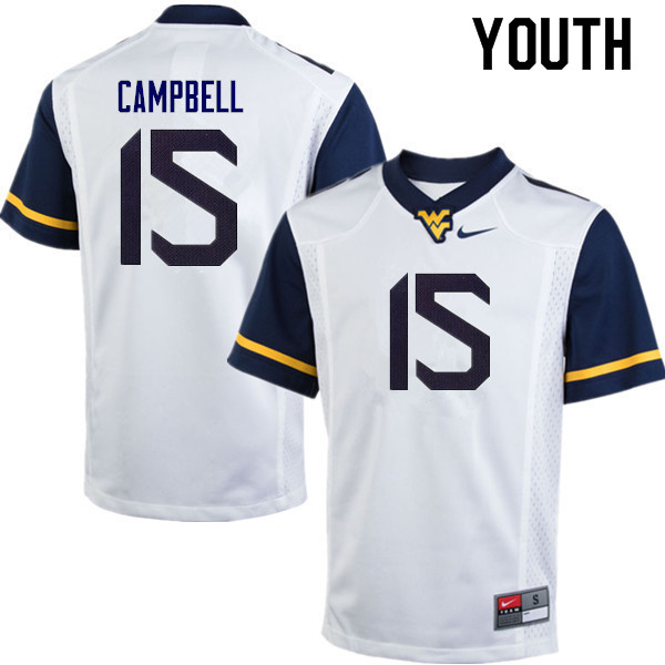 Youth #15 George Campbell West Virginia Mountaineers College Football Jerseys Sale-White